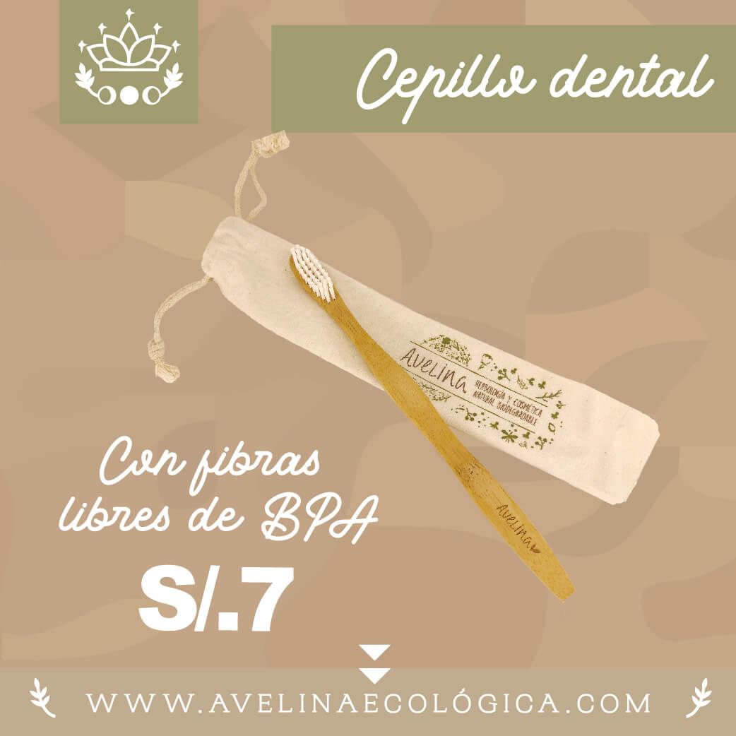 Cepillo dental bambú con bolsa tocuyo
